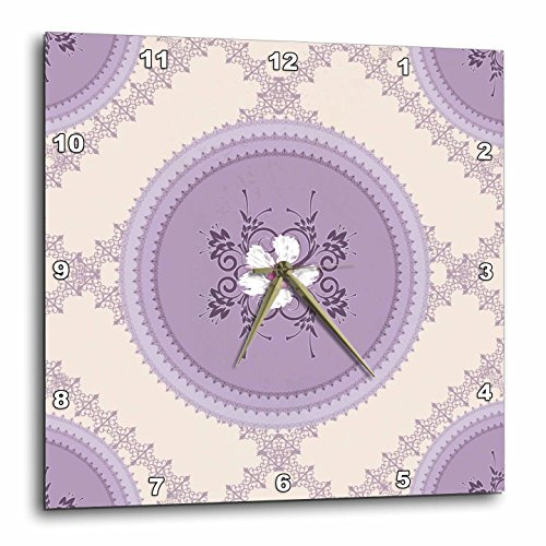 3dRose dpp_42554_1 White Flowers on Lilac Wall Clock, 10 by 10-Inch