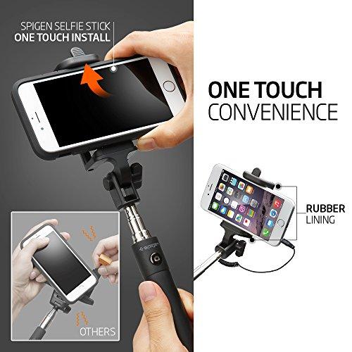 selfie stick spigen battery free wired selfie stick for iphone se 6s 6s pl. Black Bedroom Furniture Sets. Home Design Ideas