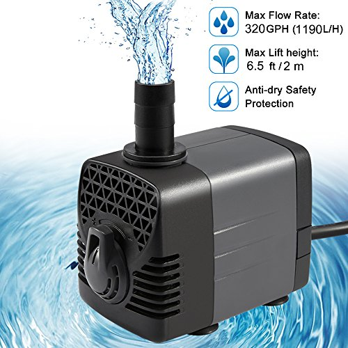 Ankway Upgraded 320GPH(1190L/H, 25W) Submersible Water Pump Humanized Rotation Switch with 2 Nozzles for Pond, Aquarium, Fish Tank Fountain Water Pump Hydroponics, with 5.9ft (1.8M) Power Cord (Switch Submersible Pump)