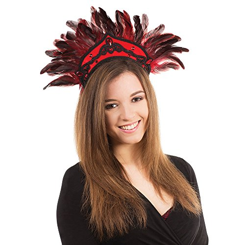Bristol Novelty BA440 Carnival Headdress Feathers for Fancy Dress, Womens, Black/Red, One -