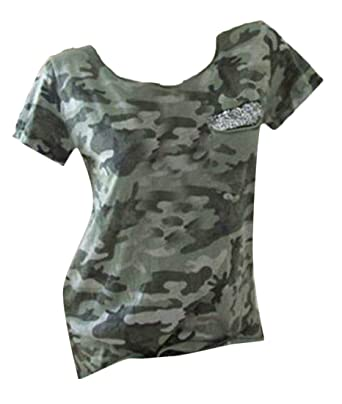 dde78d9f GRMO Women Camo Print Crew Neck Short Sleeve Pocket Sequins Top Tee T-Shirt  at Amazon Women's Clothing store: