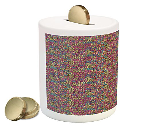 Abstract Coin Box Bank by Lunarable, Colorful Mosaic Pattern with Sixties Inspirations Abstract Pastel Colored Flowers, Printed Ceramic Coin Bank Money Box for Cash Saving, Multicolor - 60s Pastel
