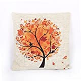 Decorative Pillow Cover - Create For-Life Cotton Linen Home Decorative Autumn Tree Pillow Case Square Cushion Cover 18