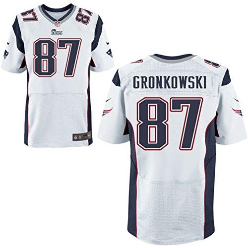 87 Rob Gronkowski Trikot New England Patriots Jersey American Football Shirt Mens White Size L(44)