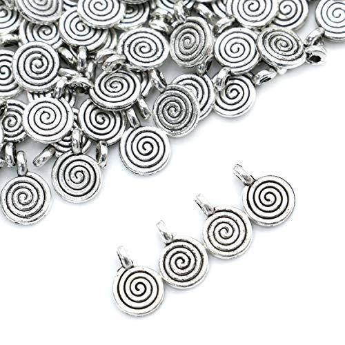 (Monrocco 90PCS Antique Silver Charm Pendant Spiral Tibetan Metal Beads for Jewelry Making DIY Bracelet Fit DIY Handmade)