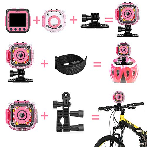 Kids Camera, iMoway Waterproof Video Cameras for Kids HD 1080P Kids Digital Cameras Camcorder with 16GB Memory Card, Card Reader and Floating Hand Grip (Pink) by iMoway (Image #6)