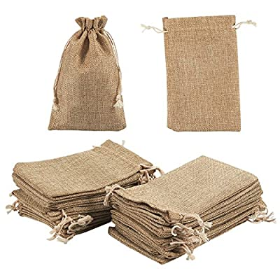 Jewelry Pouch Drawstring Bags – 24 Piece Burlap Gift Bags for Jewelry, Candy, Wedding, Arts and DIY Crafts, Baby Showers, Festival Occasions - Party Favors, 7 x 4.5 inches