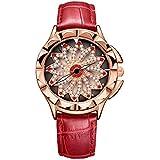 Rhinestone Waterproof Lady Quartz Watch Fashion Leather Women Watch Casual Ellipse Rose Gold Wrist Watch(SL-red)