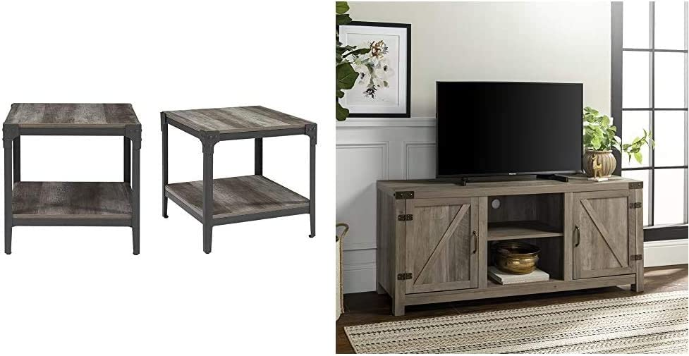 """Walker Edison Furniture Company Rustic Farmhouse Square Wood Side End Accent Table Storage Shelf & Farmhouse Barn Wood Universal Stand for TV's up to 64"""" Flat Screen Living Room Storage Cabinet Doors"""