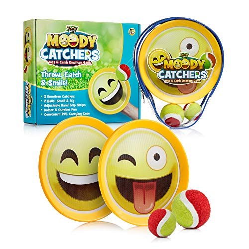 Emoji Toss & Catch Ball Game | 2 Disc Paddles, 2 Balls (One Big & One Small) & PVC Carry Bag Idea with Stunning Packaging | Safe, Durable & Family Friendly Game Set -