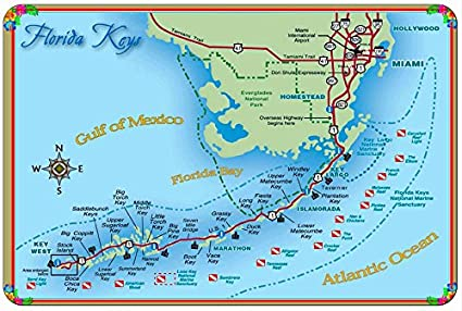 Amazoncom Map Of The Florida Keys United States America Vintage - Florida-map-us
