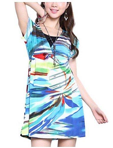 PU&PU Robe Aux femmes Gaine Simple,Fleur Col Arrondi Au dessus du genou Polyester , blue-l , blue-l