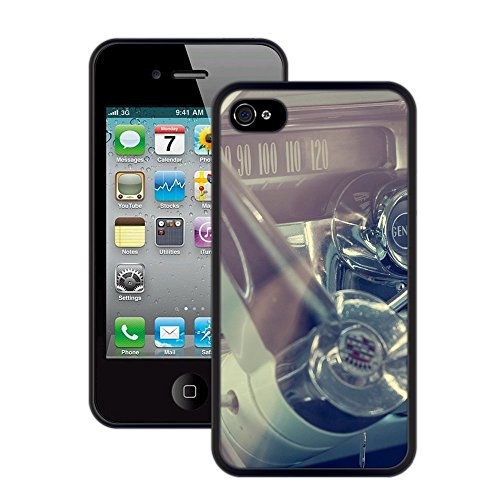 Cadillac Oldtimer | Handgefertigt | iPhone 4 4s | Schwarze Hülle