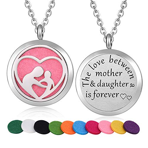 WPFdesign Stainless Steel Mother and Daughter Aroma Therapy Aromatherapy Essential Oil Diffuser Necklace Locket Pendant