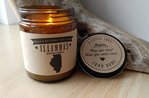 Illinois Scented Candle Missing Home Homesick Gift Moving Gift New Home Gift No Place Like Home State Candle Miss You Gift Valentines Day Gift