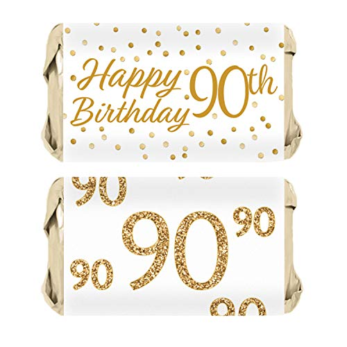 90th Birthday Party Mini Candy Bar Wrappers | White and Gold | 45 Stickers - Mini Bar Wrapper