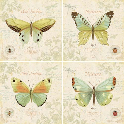 Jardine Collection - CoasterStone AS2565 Absorbent Coasters, 4-1/4-Inch, Cote Jardin Butterfly Collection, Set of 4