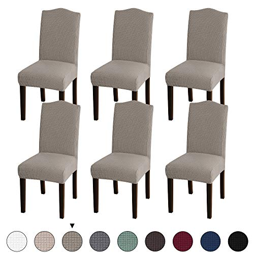 Turquoize Stretch Dining Chair Velvet Fabric Slipcovers Washable Removable Chair Slipcover Dining Chair Protector Cover for Dining Room Set of 6, Taupe