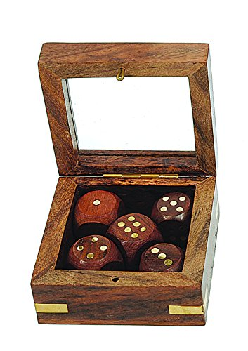 Creative Co-Op Shishum Wood and Brass Box with Five Dice - Wood Dice Box