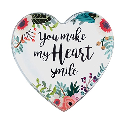 (CB Gift B2010 Heart-Shaped Glass Paperweight with Scripture, Smile)