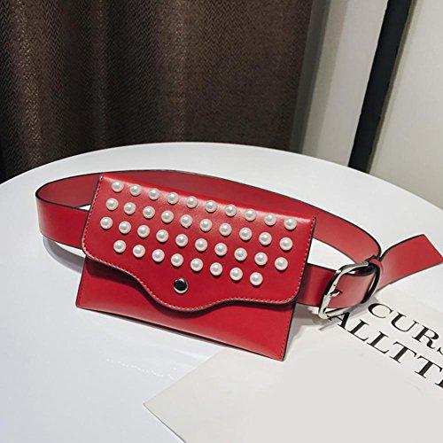Femme Red Rivets Perles Sac Sac PU Ceinture Domybest Cuir Mini Fanny Banane 7Pxw58Oq