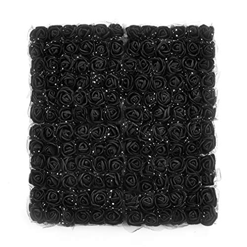 (Roses Fake Flowers Heads Artificial Rose Flowers DIY 144 PCS Head Rose Flowers Wedding Bride Bouquet PE Foam DIY Party Festival Home Decor Rose Flowers (Black) )