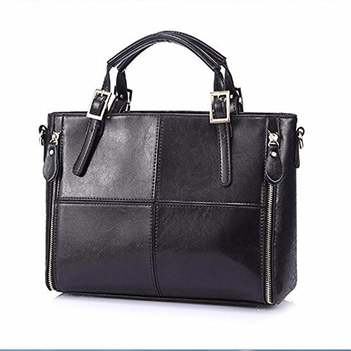 Meaeo Patchwork Top-Handle Bags   Mujeres Bolso Ladies Shoulder Bags, Negro Black