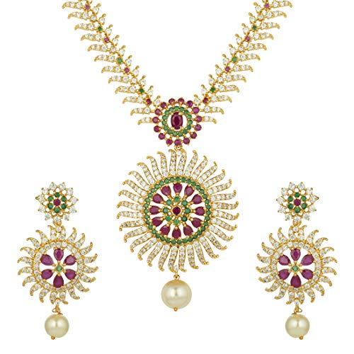 Aheli South Indian Traditional CZ Designer Necklace Earrings Bollywood Ethnic Wedding Jewelry Set for Women -