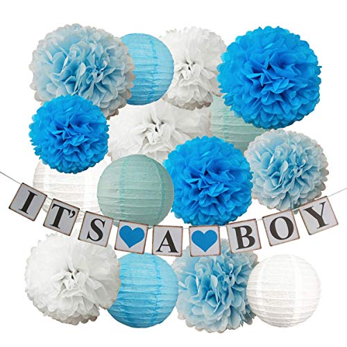 InBy It's A BOY Baby Shower Decoration Party Supplies Kit for Boy - Tissue Paper Pom Pom and Lantern, It's A BOY Banner - Blue, White for $<!--$18.59-->