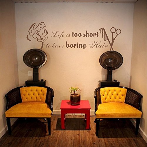 Life Is Too Short To Have Boring Hair Beauty Salon Shop Wall Decal Quote Barber Art Letters Words Wall Decor£¨Large,Black£©