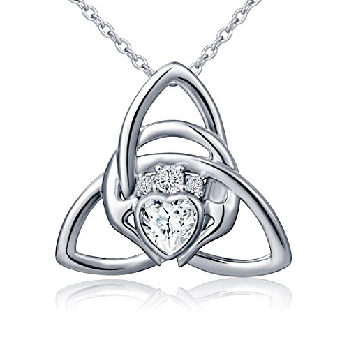 925 Sterling Silver Irish Claddagh Celtic Knot Love Heart Pendant Necklace, 18