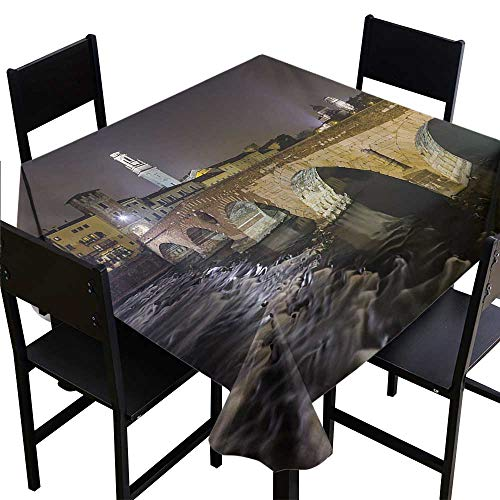 Glifporia Table Cloth for Outdoor Landscape,Ponte Pietra on River Adige Ancient Roman Bridge in The Old Town of Verona Italy,Black Beige,W54 x L54 for Bistro Table