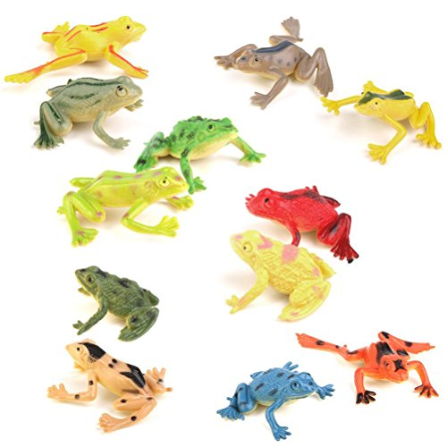 PIXNOR Toy Figure Model Plastic Frog Figures Kids Toy Set - 12 Pieces