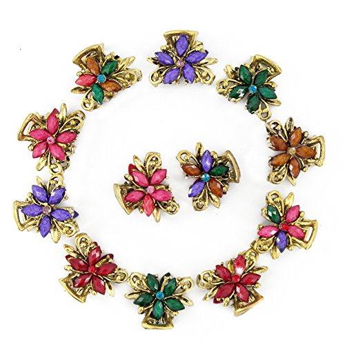 Yeshan Set of 12pcs Vintage Flower Design Metal Mini Jaw Clip,With Rhinestone and Crystal Claw Hair Clip (Colored Hair Claws)