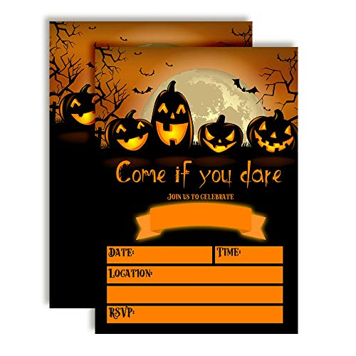 Spooky Pumpkin Jack O' Lantern Halloween Birthday Party Invitations, 20 5
