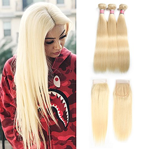 613 Blonde Straight Hair Bundles With Closure Brazilian Virgin Hair With Lace Closure 3bundles Unprocessed Human Hair Extensions With 4x4 Free Part Closure (10 12 14+10inch Closure)
