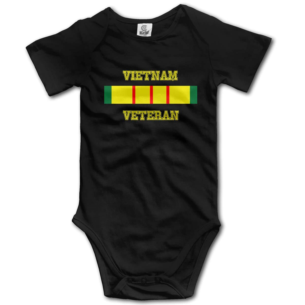 Vietnam Veteran United States Army Military Boys /& Girls Black Short Sleeve Romper Bodysuits for 0-24 Months