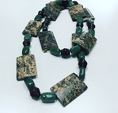 Jasper And Green Adventurine Crystals With Wood Beads Long Stone Chunky Necklace