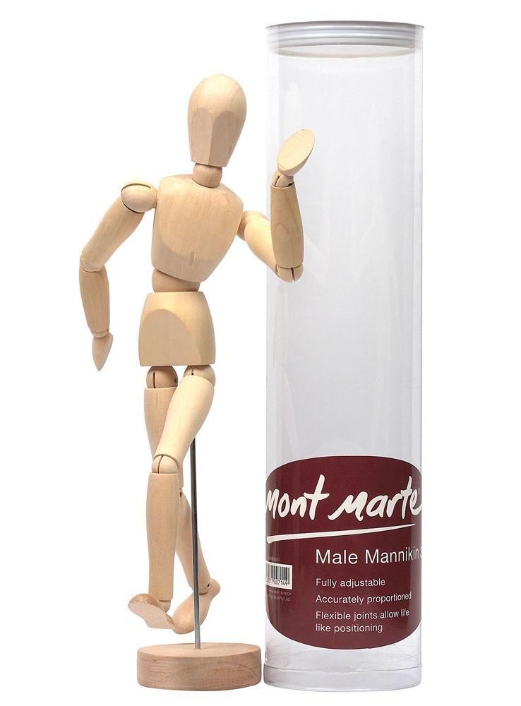 MONT MARTE Manichino Disegno - Maschio 30 cm - Modello di legno - Mannekin Arte flessibile - Perfetto aiuto per la Pittura e il Disegno per Principianti, Professionisti e Artisti
