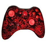 Hydro Dipped Grave Red Skull Wireless Controller Replacement Shell for XBOX 360