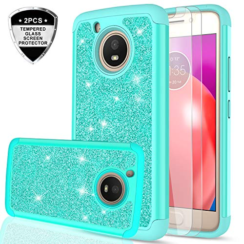 Moto E4 Case (USA Version) (Not Fit Moto E4 Plus) w/Tempered Glass Screen Protector [2 Pack],LeYi Glitter Girls Women Heavy Duty Shockproof Protective Phone Case for Motorola E (4th Gen) TP Mint