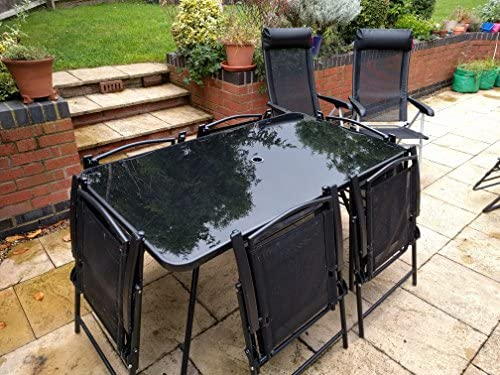 SpeedwellStar - Housse respirante de qualité pour meubles de jardin Housse de Protection Table de Jardin Rectangulaire Polyester pour Meuble de Jardin Noir 170 x 71 x 94 cm (L x h x l): Amazon.es: Jardín