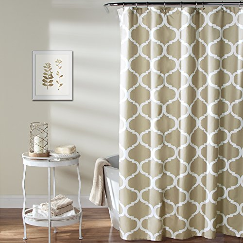 Lush Decor Geo Shower Curtain, 72 Inches X 72 Inches, Taupe
