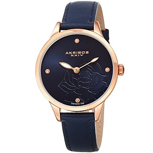 - Akribos XXIV Flower Engraved Dial Watch - 4 Diamond Markers On a Leather Strap Women's Watch - Beautiful Gift Box Perfect for Mothers Day - AK1044