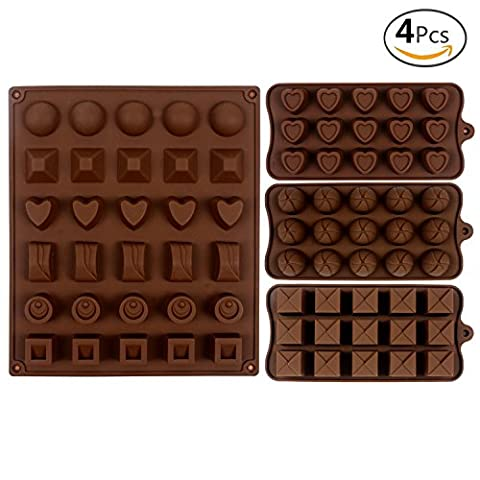 JUSLIN 4pcs Silicone Chocolate Jelly Candy Mold, Cake Baking Mold, 1 30-cavity Big Mold & 3 12-cavity Small Molds