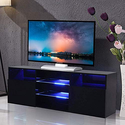 Mecor High Gloss TV Stand with LED Lights, 58