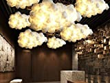 G-D Pendant Lamp Post-Modern Contemporary Fashion Simple Floating White Clouds Chandeliers Decorative Art Lights Hotel Lobby Silk Hotel Engineering Light, Diameter 600mm