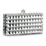 IBELLA Women Evening Clutch Purse Bag Rhinestone Crystal Glass Crossbody Shoulder Handbag (White)