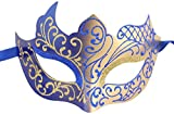 Luxury Mask Assorted Venetian Party Mask, Blue/Gold, One Size