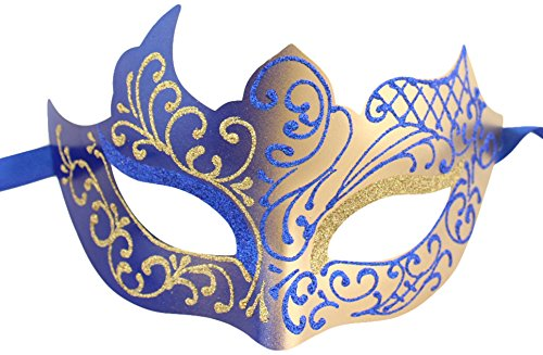 [Luxury Mask Assorted Venetian Party Mask, Blue/Gold, One Size] (Blue Mardi Gras Mask)